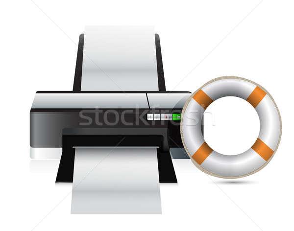 принтер СОС иллюстрация дизайна белый служба Сток-фото © alexmillos