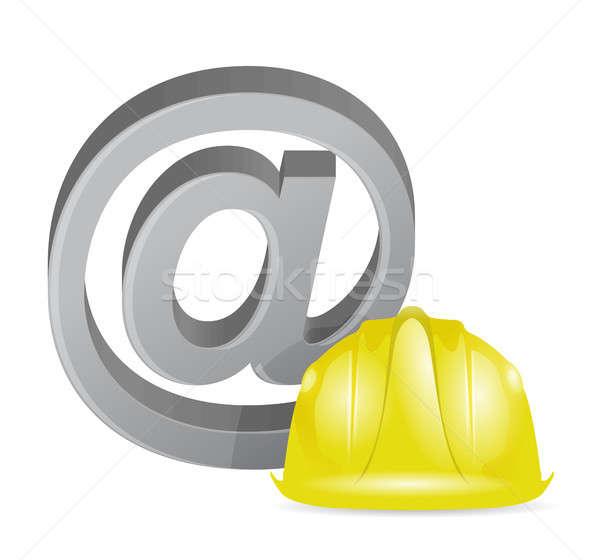 Internet at sign under construction Stock photo © alexmillos