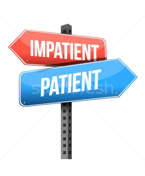 нетерпеливый пациент дорожный знак иллюстрация дизайна белый Сток-фото © alexmillos