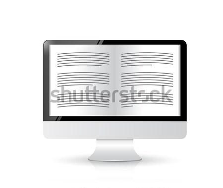 Ebook laptop tela ilustração projeto branco Foto stock © alexmillos