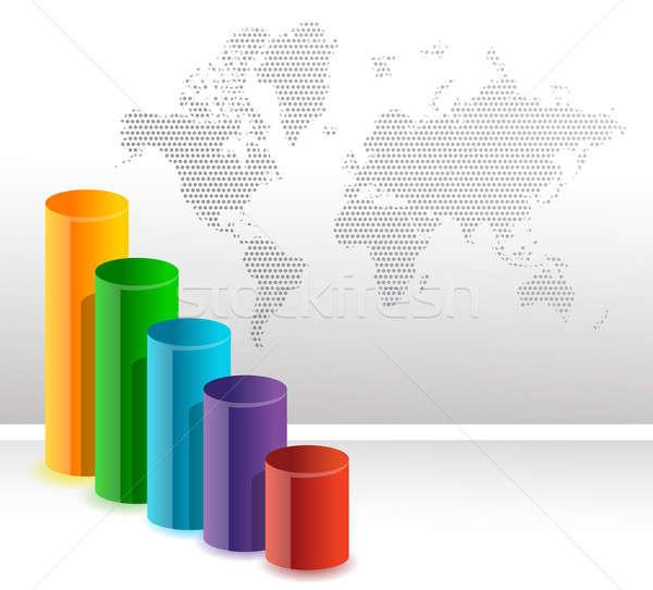 Colorido circular negocios gráfico de barras ilustración resumen Foto stock © alexmillos