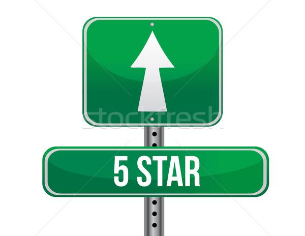 Five stars road sign illustration design Stock photo © alexmillos