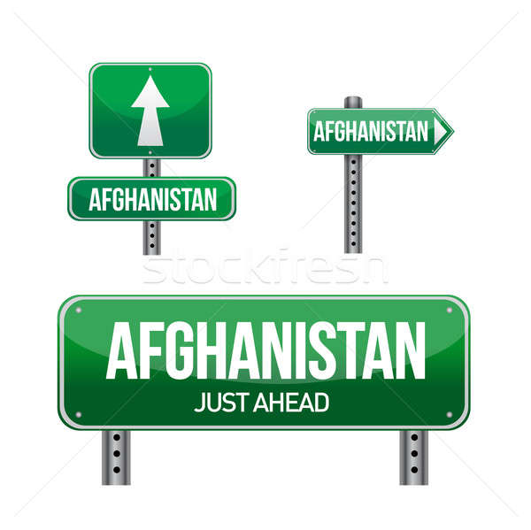 afghanistan Country road sign illustration design over white Stock photo © alexmillos