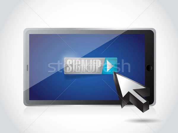 sign up on tablet. illustration design over a white background Stock photo © alexmillos