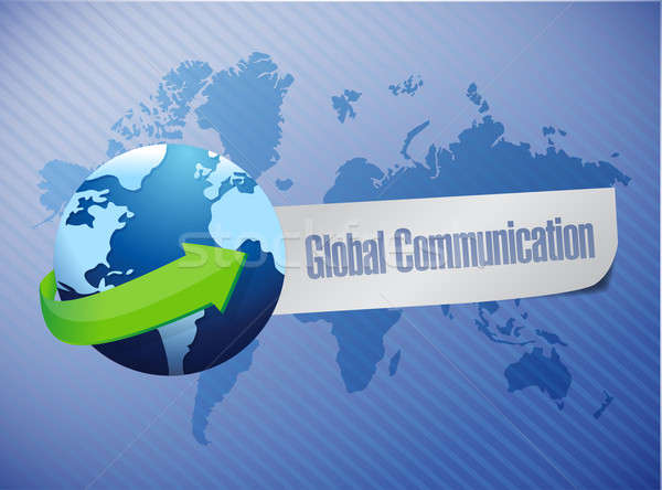 global communication world map illustration design over a blue b Stock photo © alexmillos