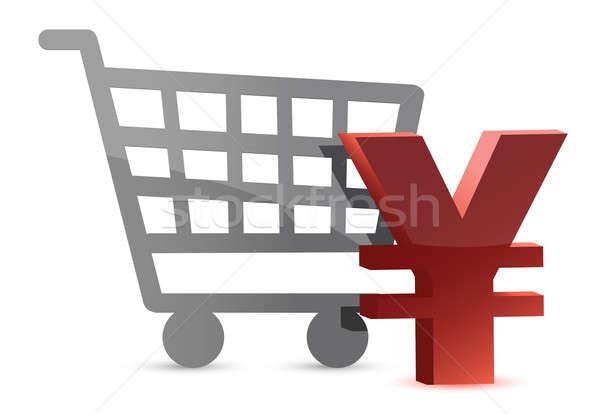 Yen vásárlás kártya illusztráció terv fehér Stock fotó © alexmillos