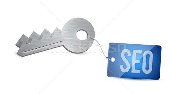 Key to SEO search engine optimization illustration design Stock photo © alexmillos