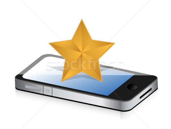 excellent rating display on a phone concept illustration design  Stock photo © alexmillos