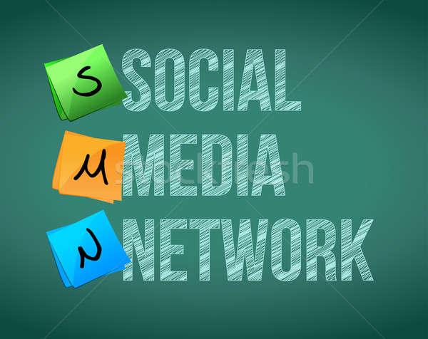 social media network posts on a chalk board illustration design Stock photo © alexmillos