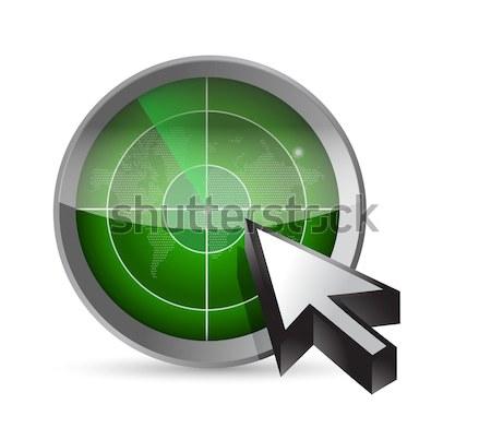 Blu radar pulsante illustrazione cursore bianco Foto d'archivio © alexmillos