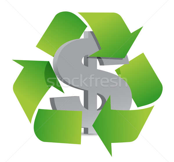 dollar recycle illustration sign over a white background Stock photo © alexmillos