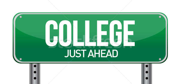College Just Ahead Green Road Sign illustration design over whit Stock photo © alexmillos