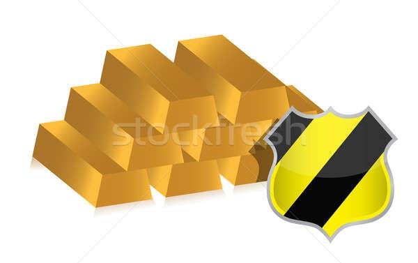 Goud bars beschermd schild illustratie business Stockfoto © alexmillos