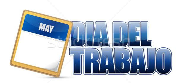 labour day in spanish illustration design over white Stock photo © alexmillos