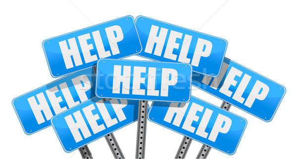 Multiple help signs illustration Stock photo © alexmillos