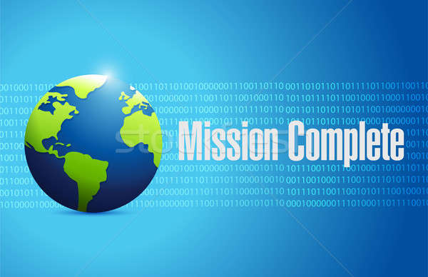 mission complete binary globe sign concept Stock photo © alexmillos