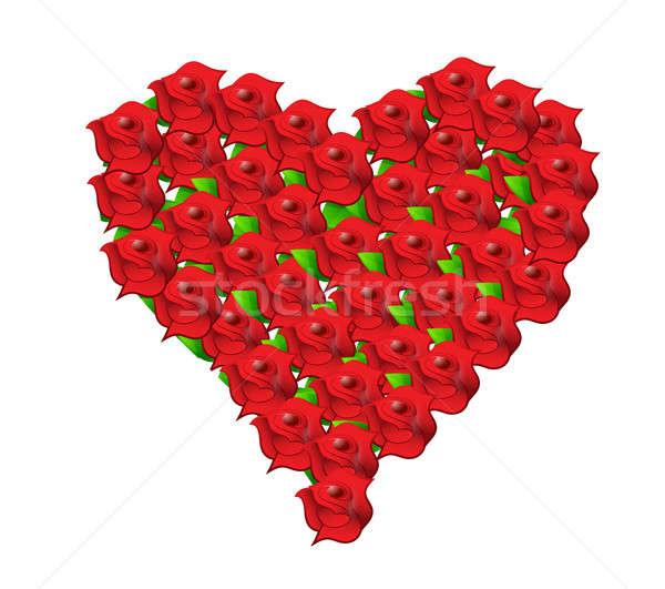 Kalp kırmızı çiçek örnek dizayn Stok fotoğraf © alexmillos