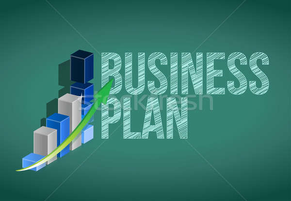 Business Plan and graph on a chalkboard. Stock photo © alexmillos