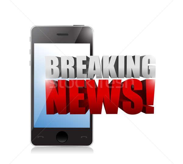 ニュース速報 にログイン スマートフォン 実例 デザイン 白 ストックフォト © alexmillos