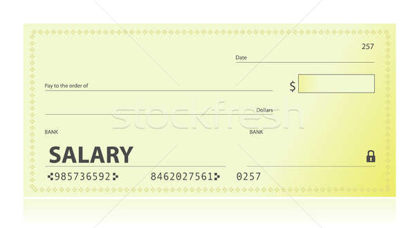 Salary check illustration design over white Stock photo © alexmillos
