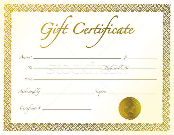 Gold Gift Certificate with golden seal and design border. Stock photo © alexmillos