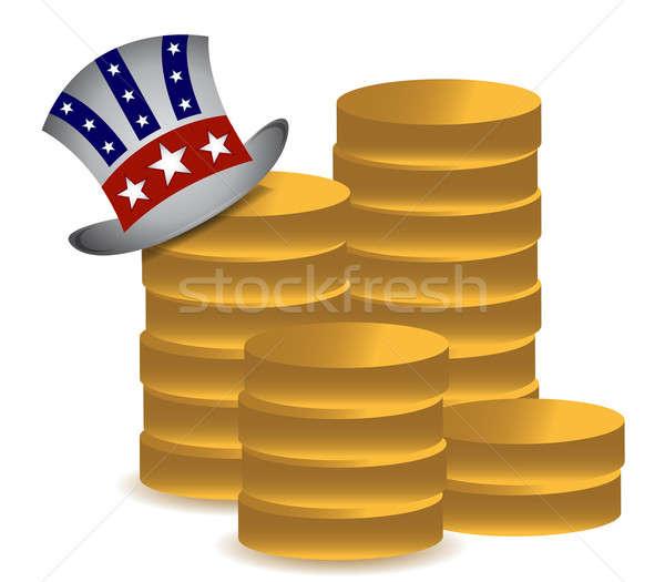 Tío monedas ilustración diseno blanco Foto stock © alexmillos