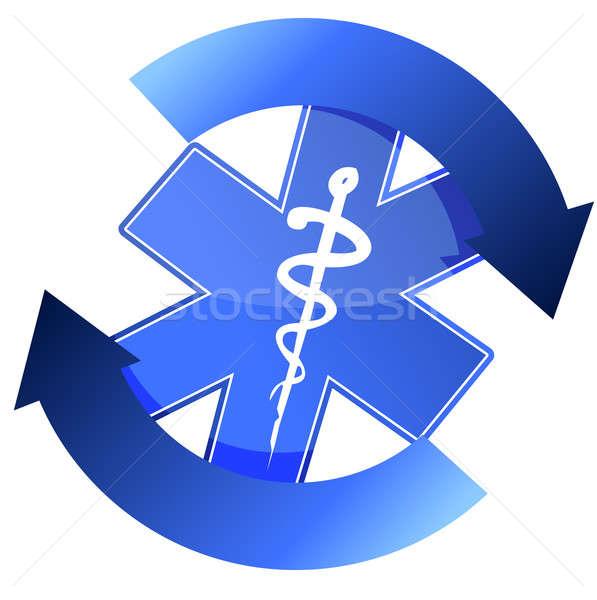 24/7 blue medical symbol cycle illustration design Stock photo © alexmillos