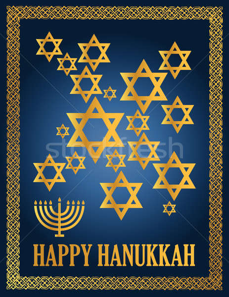 Detail illustration of a blue and gold happy hanukkah card. Stock photo © alexmillos