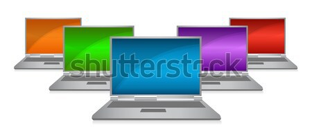 Color monitors in a row isolated on a white background Stock photo © alexmillos