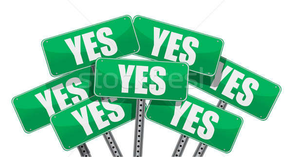 green yes signs illustration design on white background Stock photo © alexmillos