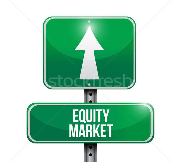 equity market road sign illustration design over white Stock photo © alexmillos