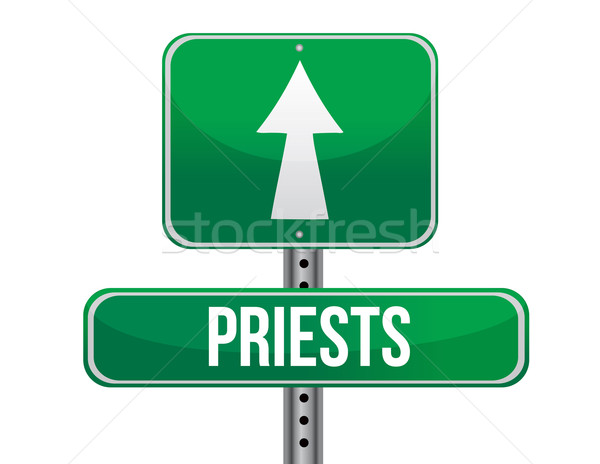priest road sign illustration design over a white background Stock photo © alexmillos