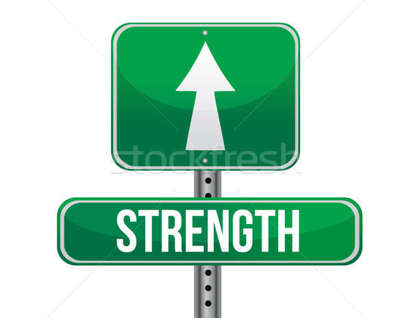 strength road sign illustration design over a white background Stock photo © alexmillos