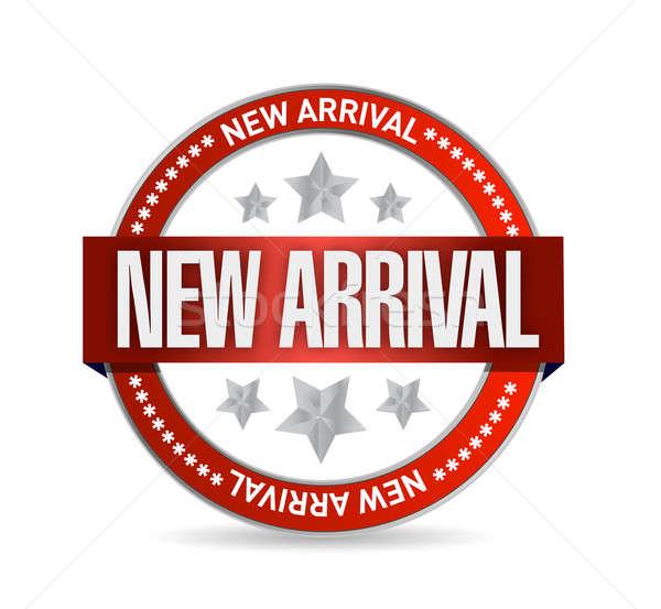 Nieuwe aankomst zegel stempel illustratie witte Stockfoto © alexmillos