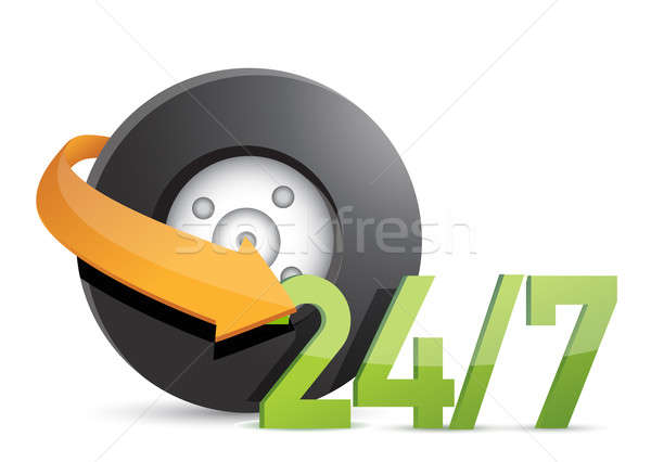 wheel mechanical service 24/7 Concept illustration design over w Stock photo © alexmillos