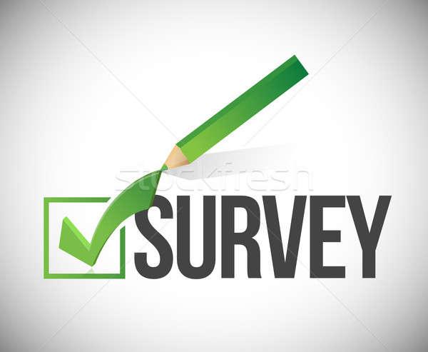 survey checkmark and pencil illustration design over a white bac Stock photo © alexmillos