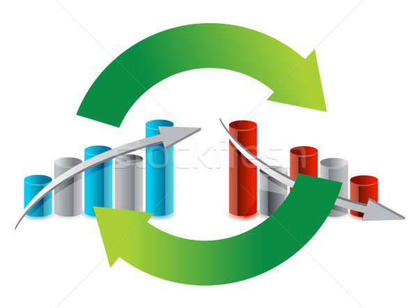 up and down graph cycle illustration design over white Stock photo © alexmillos