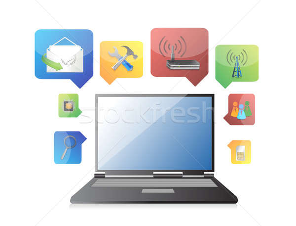Laptop symbolen witte huis internet winkelen Stockfoto © alexmillos