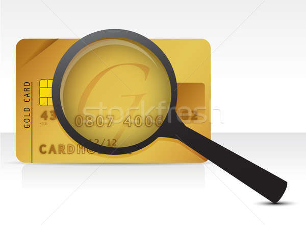 credit card magnifier illustration design over a white backgroun Stock photo © alexmillos