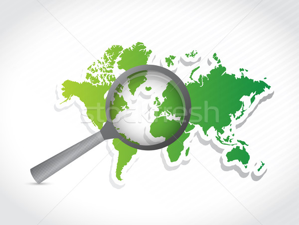 world map under investigation. illustration design over a white  Stock photo © alexmillos