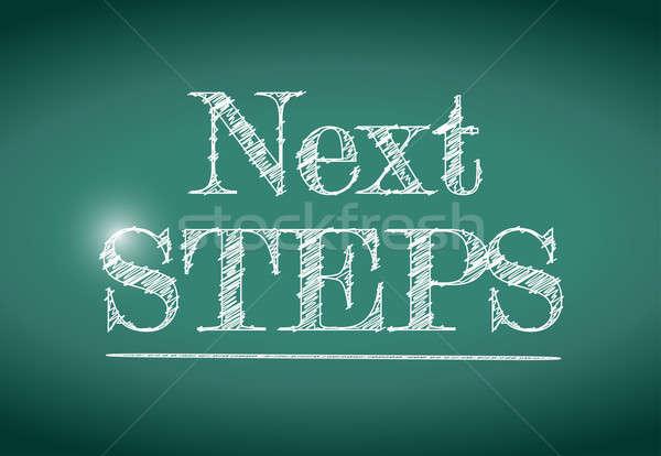 Próximo passos mensagem escrito quadro-negro ilustração Foto stock © alexmillos