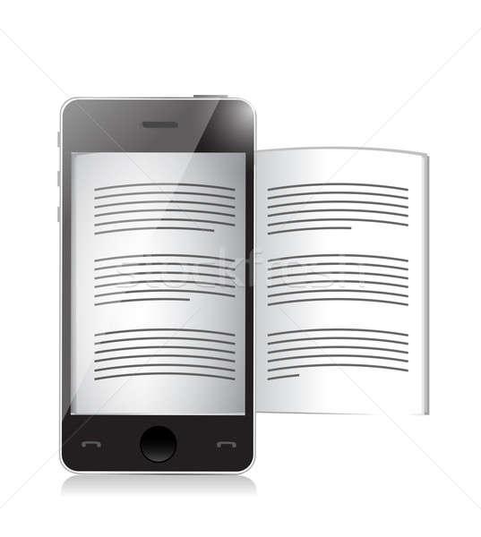 Ebook czytelnik smartphone ilustracja projektu biały Zdjęcia stock © alexmillos