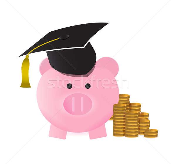 Főiskola megtakarított pénz illusztráció terv fehér üzlet Stock fotó © alexmillos