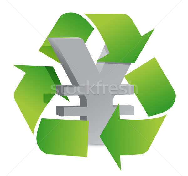 yen recycle illustration sign over a white background Stock photo © alexmillos