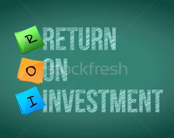 Stock fotó: Roi · visszatérés · beruházás · illusztráció · terv · fehér