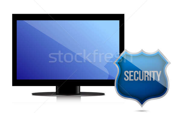 monitor with security shield illustration design over white Stock photo © alexmillos