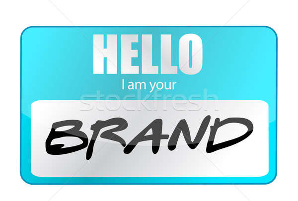 Hello I am your Brand illustration design over white Stock photo © alexmillos