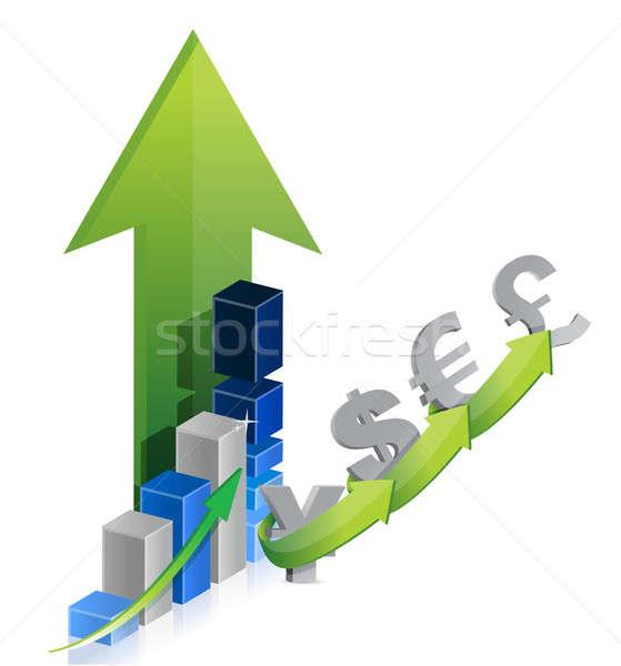 Grafik para dolar euro pound yen Stok fotoğraf © alexmillos