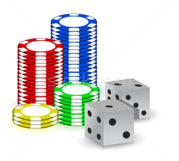 Poker gambling chips and set of dimes Stock photo © alexmillos