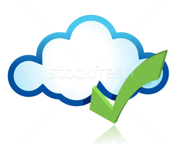 Blue cloud with green tick mark  Stock photo © alexmillos